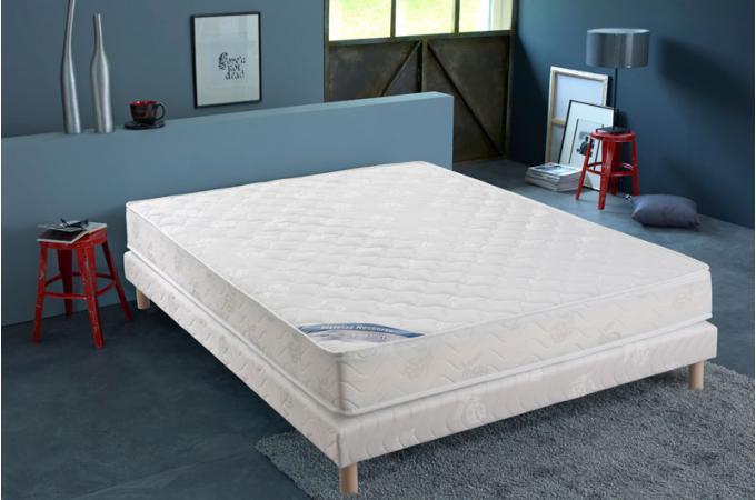 ensemble matelas ressorts biconiques h18 et sommier tapissier matelass 140x190 cm virtus. Black Bedroom Furniture Sets. Home Design Ideas