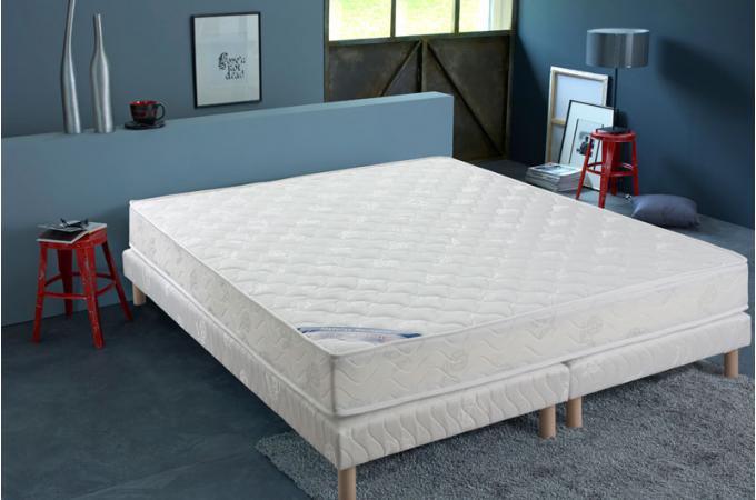 ensemble matelas ressorts biconiques h18 160x200 cm et 2 sommiers tapissiers matelass s 2x80x200. Black Bedroom Furniture Sets. Home Design Ideas