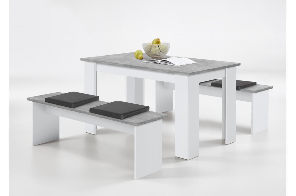 Ensemble Table 2 Bancs Gris Beton Blanc Leyne Table Salle A