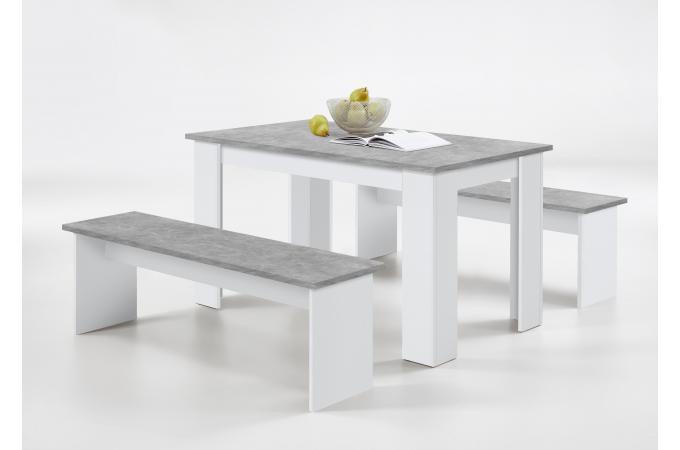 Ensemble Table 2 Bancs Gris Béton Blanc Leyne Table à Manger Pas