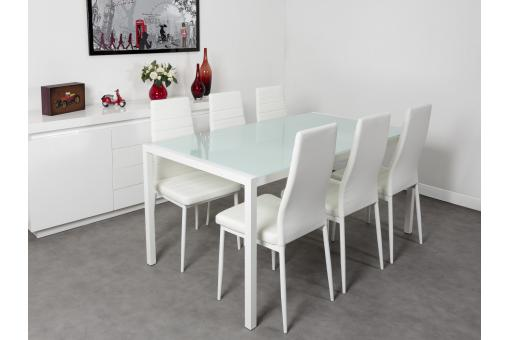 Ensemble Table et 6 Chaises Blanches CAMPING