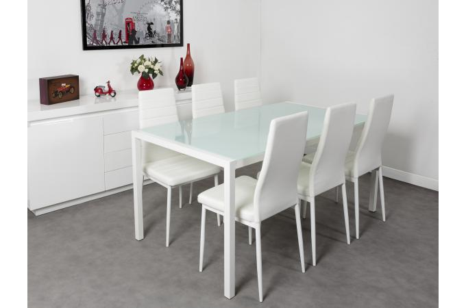 ensemble table et 6 chaises blanches camping table pas cher. Black Bedroom Furniture Sets. Home Design Ideas