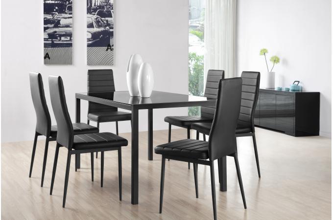 Ensemble Table Et 6 Chaises Noires CAMPING Noir