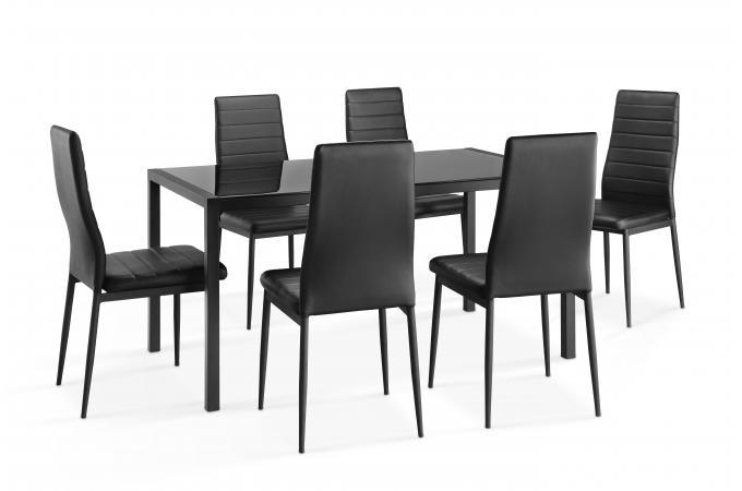 ensemble table et 6 chaises noires camping table pas cher. Black Bedroom Furniture Sets. Home Design Ideas
