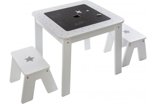 Ensemble Table et Tabourets Blanc et Argenté COLORIA - Deco enfant design