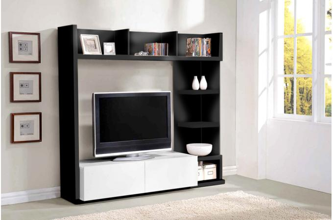 meuble tv 2 placards 7 etag res noir et blanc galeane meuble tv pas cher. Black Bedroom Furniture Sets. Home Design Ideas