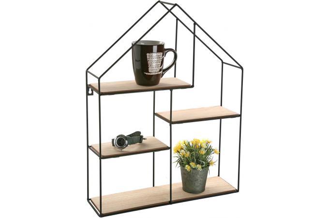 etag re en bois et m tal filaire impression maison 51x40 ludicola etag re pas cher. Black Bedroom Furniture Sets. Home Design Ideas