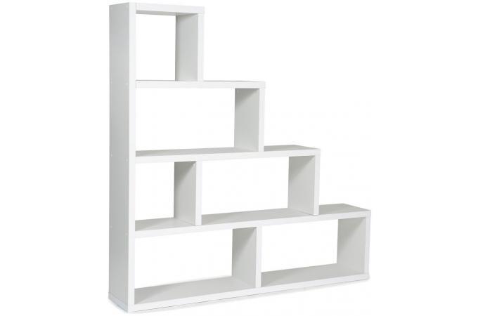 Etagère Escalier 6 Compartiments Blanc TICIA   Etagère Pas Cher