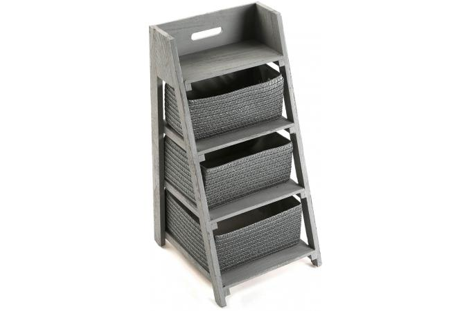 etag re escalier salle de bain 3 paniers gris kora meuble salle de bain pas cher. Black Bedroom Furniture Sets. Home Design Ideas