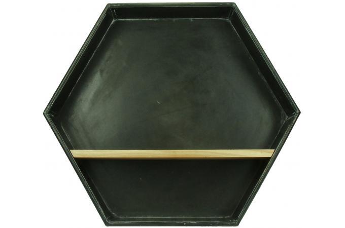 etag re hexagonale pomax en m tal et bois 43x10x37 zenwall. Black Bedroom Furniture Sets. Home Design Ideas