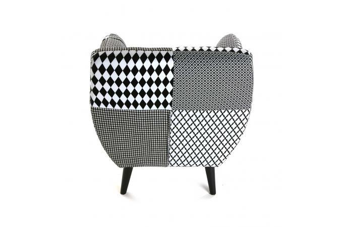 Fauteuil Avec Accoudoirs Patchwork Géométrique Noir Blanc HARLEY - Fauteuil patchwork noir et blanc