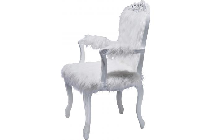 fauteuil baroque en fourrure blanche romantico declikdeco. Black Bedroom Furniture Sets. Home Design Ideas