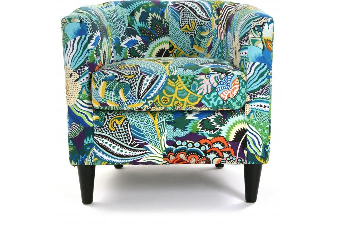 fauteuil cabriolet en tissu patchwork tropical fauteuil design pas cher. Black Bedroom Furniture Sets. Home Design Ideas