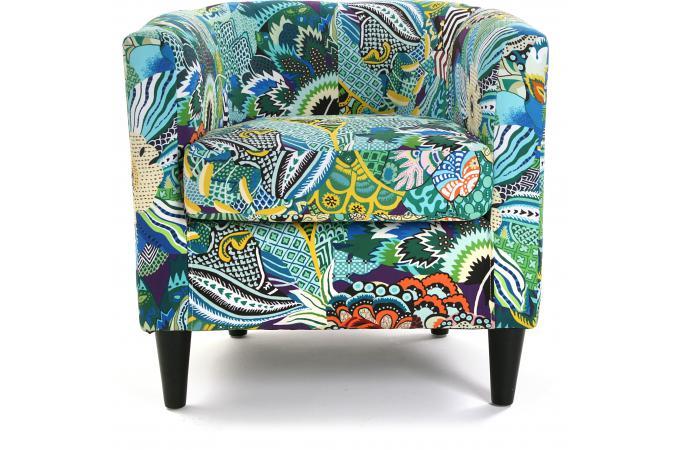 fauteuil cabriolet en tissu patchwork tropical fauteuil design pas cher. Black Bedroom Furniture Sets. Home Design Ideas