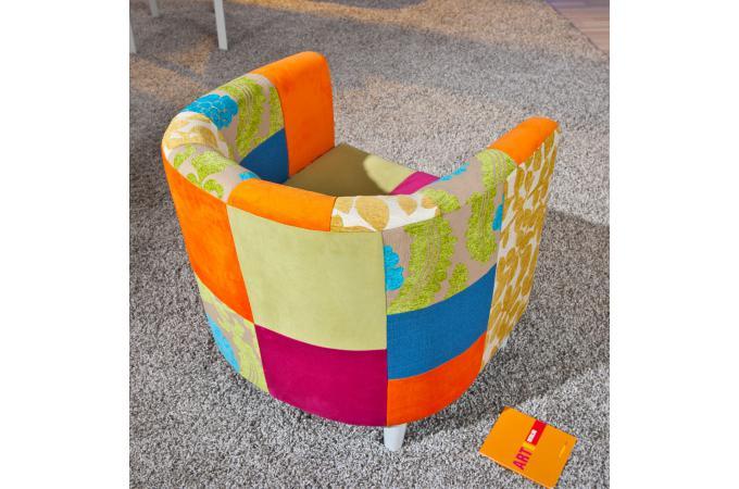 fauteuil cabriolet patchwork multicolore benito fauteuil design pas cher. Black Bedroom Furniture Sets. Home Design Ideas