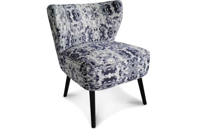 fauteuil crapaud imprim bleu fonc pulca fauteuil crapaud pas cher. Black Bedroom Furniture Sets. Home Design Ideas