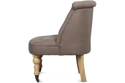 Fauteuil Crapaud Capitonné A Roulettes Taupe CIRCE