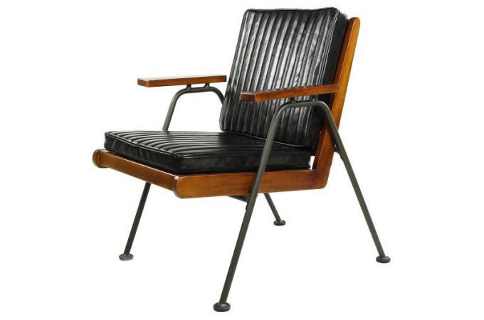 fauteuil en ch ne massif et effet cuir noir zavna fauteuil design pas cher. Black Bedroom Furniture Sets. Home Design Ideas