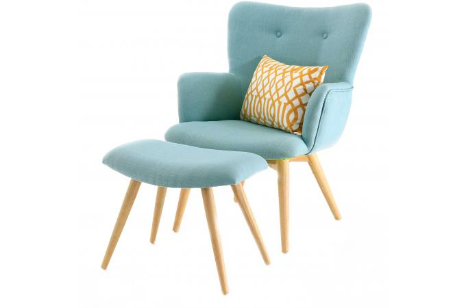 fauteuil et repose pieds scandinaves bleu matyss fauteuil design pas cher. Black Bedroom Furniture Sets. Home Design Ideas
