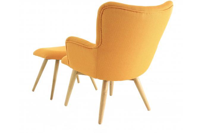 fauteuil et repose pieds scandinaves jaune matyss fauteuil design pas cher. Black Bedroom Furniture Sets. Home Design Ideas