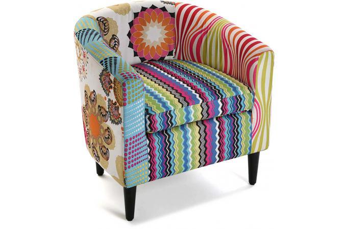 fauteuil patchwork multicolore farla fauteuil design pas cher. Black Bedroom Furniture Sets. Home Design Ideas