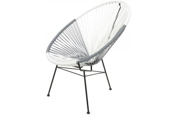 Fauteuil la chaise longue gris et blanc acapulco fauteuil design pas cher - La chaise longue lampadaire ...