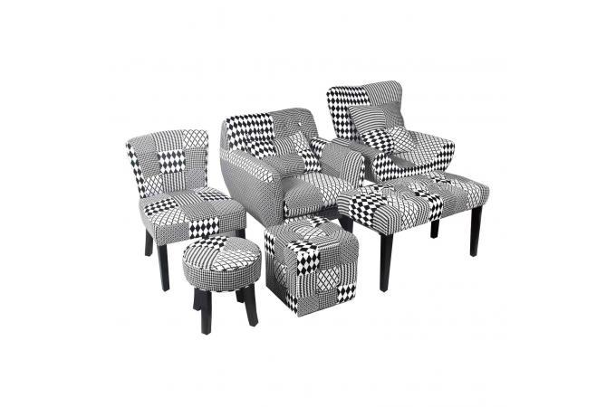 Chaise Patchwork Géométrique Noir Blanc HARLEY Fauteuil Design Pas - Fauteuil patchwork noir et blanc