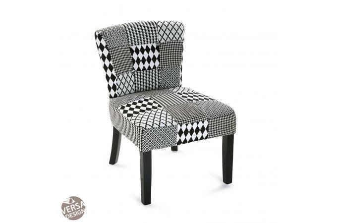 Chaise Patchwork Geometrique Noir Blanc HARLEY