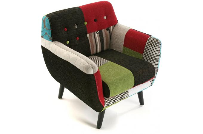 fauteuil patchwork mullticolore leon fauteuil design pas cher. Black Bedroom Furniture Sets. Home Design Ideas