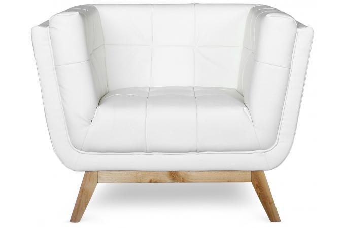 Fauteuil capitonn blanc flisa fauteuil design pas cher - Fauteuil blanc capitonne ...