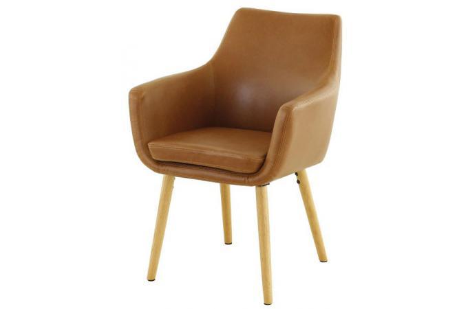 fauteuil scandinave effet cuir avec accoudoirs marron clair altiro design 229372 680x450 Résultat Supérieur 5 Frais Fauteuil Marron Pas Cher Photographie 2017 Jdt4