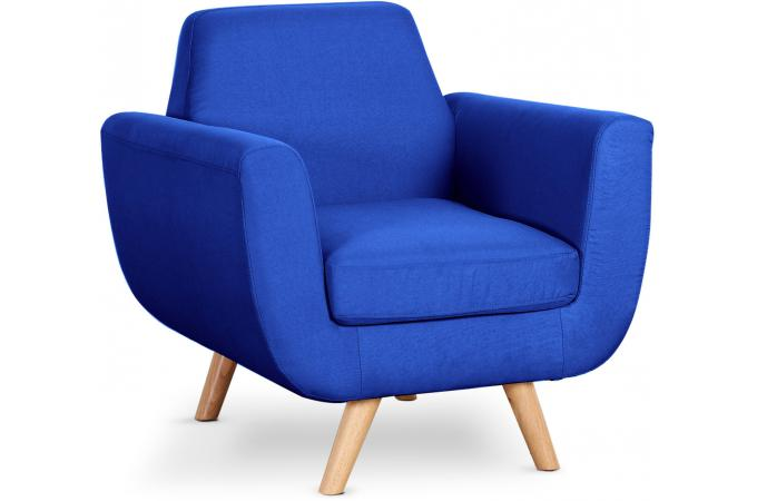 Fauteuil Scandinave Tissu Bleu Royal TELIA - Fauteuil Design Pas Cher