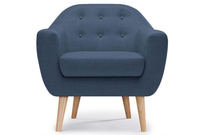 Fauteuil Scandinave Tissu Bleu FIDELIO - Fauteuil Design Pas Cher