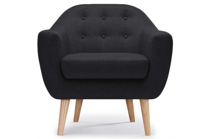 fauteuil scandinave tissu noir fidelio fauteuil design pas cher. Black Bedroom Furniture Sets. Home Design Ideas
