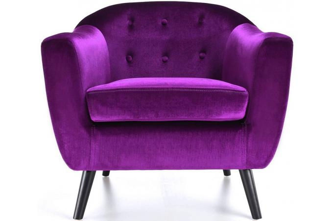 Fauteuil scandinave velours violet luis fauteuil design pas cher - Fauteuil design violet ...