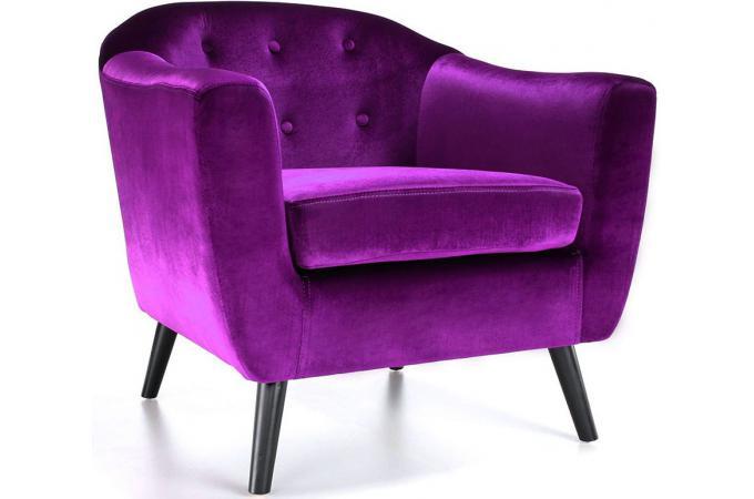 Fauteuil design cabriolet coloris noir canap convertible confortable avec co - Fauteuil cabriolet violet ...