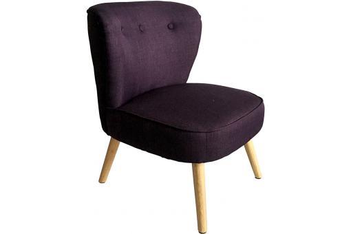 fauteuil tissu violet pi tement bois tamaco fauteuil design pas cher. Black Bedroom Furniture Sets. Home Design Ideas