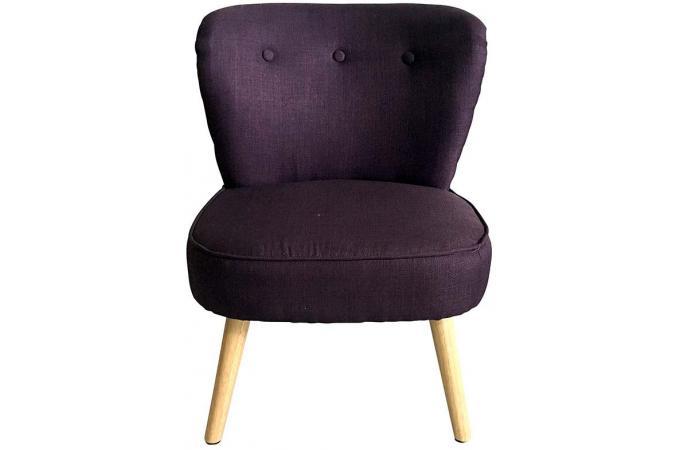 Fauteuil tissu violet pi tement bois naturel tamaco fauteuil design pas cher - Fauteuil design violet ...