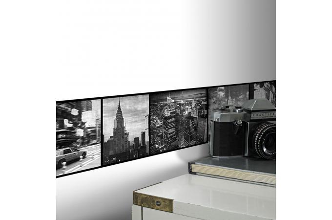 Frise adhesive nyc noir blanc 500x15 papier peint - Frise adhesive cuisine ...