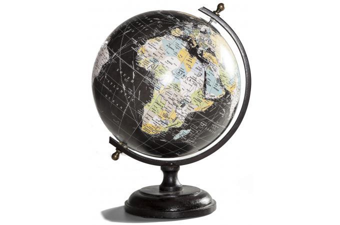 Globe d coratif vintage noir statue design pas cher for Objets decoratifs salon