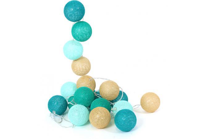 guirlande lumineuse boules dans les tons bleus litli d co lumineuse pas cher. Black Bedroom Furniture Sets. Home Design Ideas