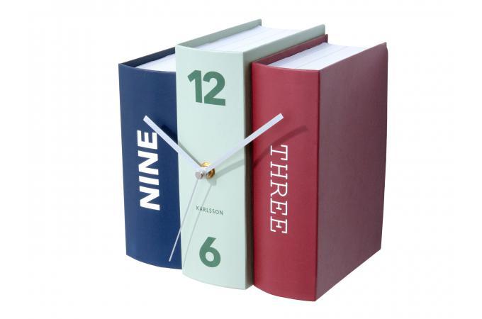 horloge a poser livres tricolore gizeh horloge design pas cher. Black Bedroom Furniture Sets. Home Design Ideas