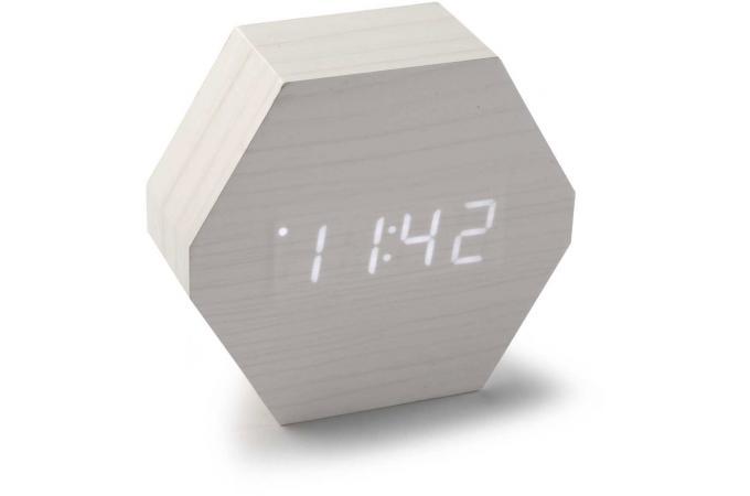 Horloge digitale led hexagonale blanche h10 5 reloja horloge design pas cher for Horloge blanche design