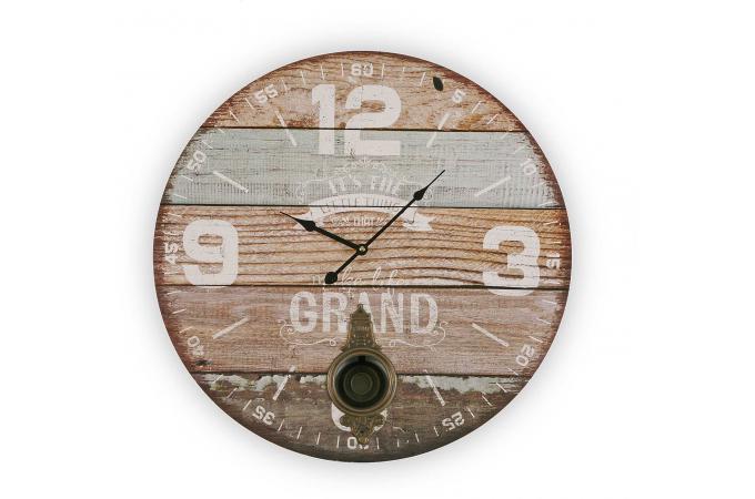 Horloge en bois 58cm igla horloge design pas cher for Horloge design bois