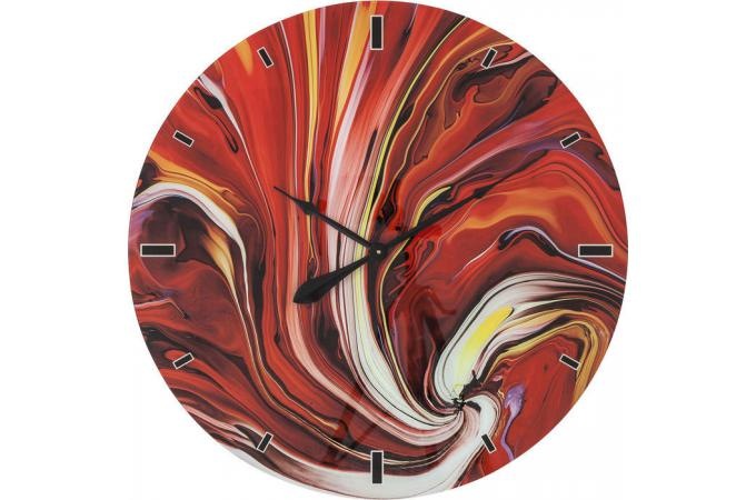 Horloge murale kare design en verre impression for Horloge murale design rouge