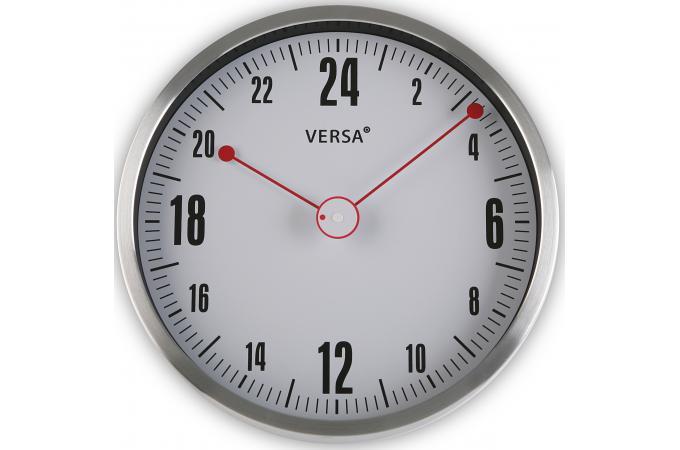 Horloge murale 24h grise et rouge horloge design pas cher for Horloge grise