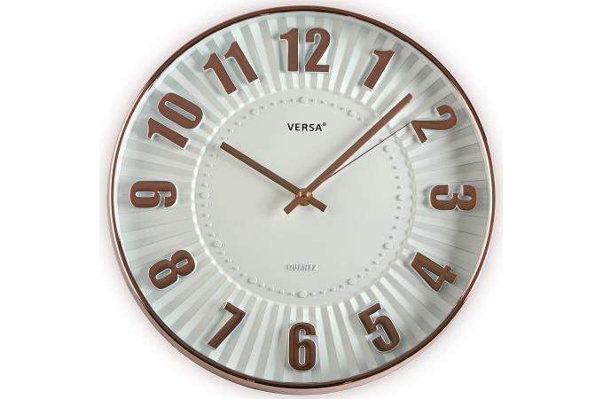 horloge murale blanc et cuivre horloge design pas cher. Black Bedroom Furniture Sets. Home Design Ideas