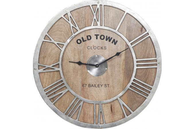 horloge murale bois old town horloge design pas cher. Black Bedroom Furniture Sets. Home Design Ideas