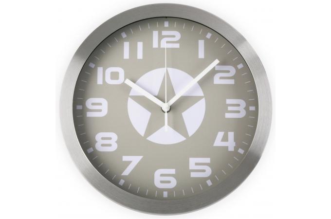 Horloge murale toile grise horloge design pas cher for Horloge grise
