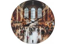 KARE DESIGN - Horloge Murale KARE DESIGN En Verre Impression City 80x80cm GRAND CENTRAL - Horloge design